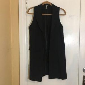 Jackets & Blazers - Black Long Blazer Vest